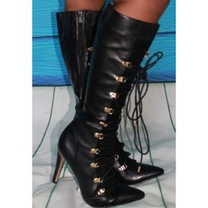 Black gold pointy toe lace up knee high boots 9.5